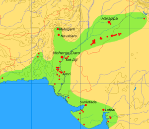 Extent and major sites of the Indus Valley Civ...