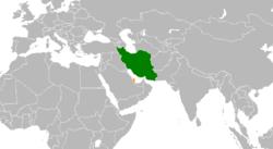 Map indicating locations of Iran and Qatar