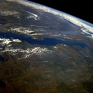 Lake Tanganyika photographed from orbit. Burto...