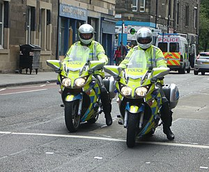 English: Motorcycle police in Gorgie Road, Edi...
