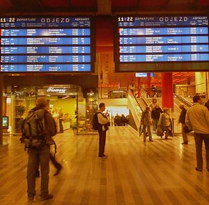 English: Information board about departures at...