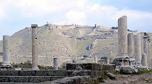 English: The acropolis of Pergamum, seen from ...