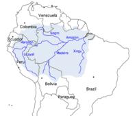 Peta ini menunjukkan jalur yang dilalui Amazon, beberapa anak sungai, serta perkiraan luas wilayah yang dialirinya.