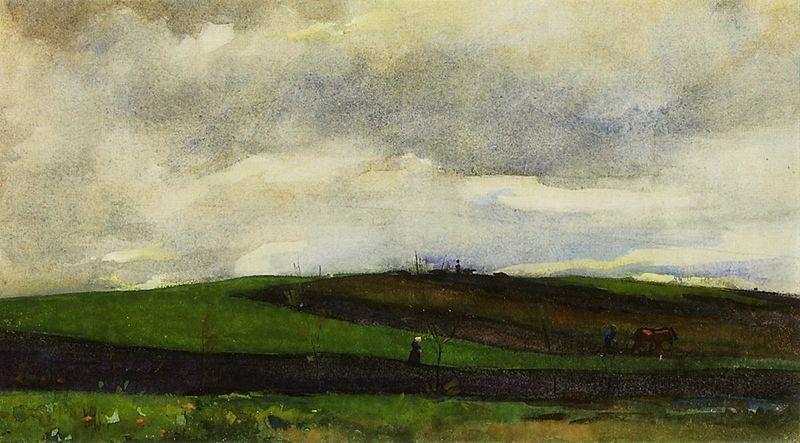 Archivo: Floris Arntzenius - Ploegende boer en landschap.jpg glooiend