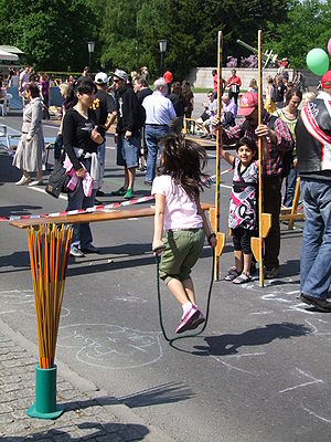 Girl playing jump rope
