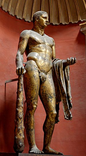 Heracles with club, lion skin and golden apple...