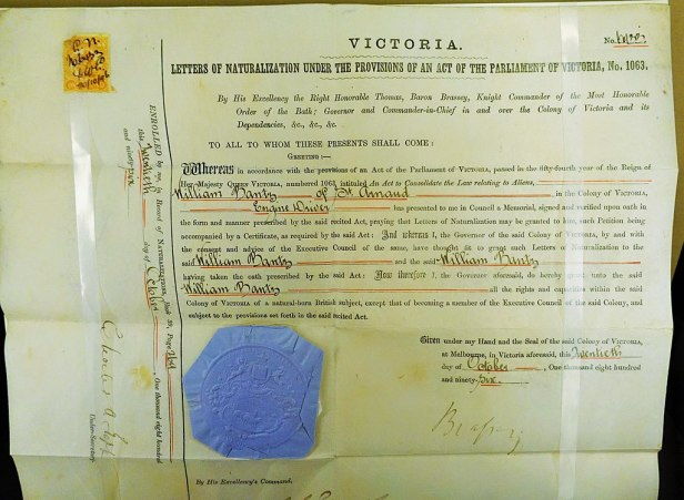 Immigration Museum, Melbourne - Joy of Museums - Naturalisation Certificate, William Bantry, 1896