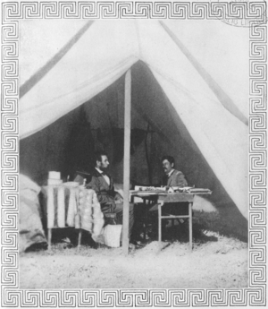 English: Photograph of Abraham Lincoln and Gen...