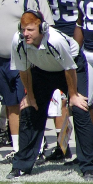 Mike McQueary coaching from the sideline