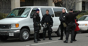 U.S. Park Police officers stand guard on Presi...