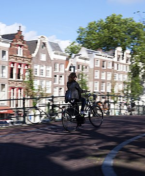A bicyclist in Amsterdam, the Netherlands.