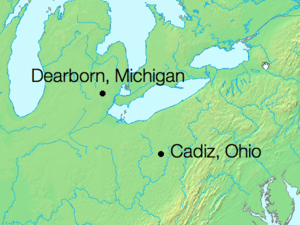 Dearborn, Michigan to Cadiz, Ohio