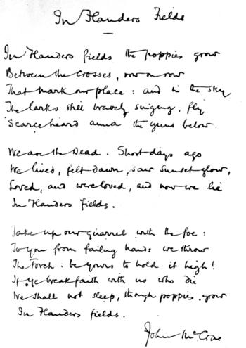 Facsimile of handwritten version of McCrae's &...