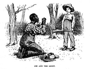 Illustration of Jim and Huckleberry Finn, by E...