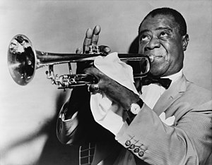 English: Louis Armstrong, jazz trumpeter Franç...
