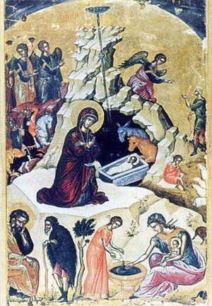 Русский: Рождество Христово (икона в Храме)