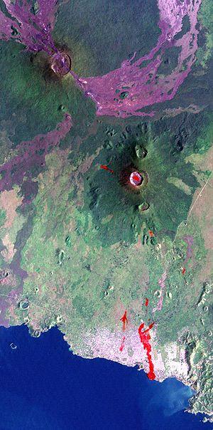 Depiction of the Nyiragongo and Nyamuragira vo...