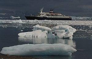 M/V Lyubov Orlova in Neko Harbour, Antarctica
