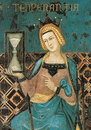 Temperance bearing an hourglass; detail of Lor...