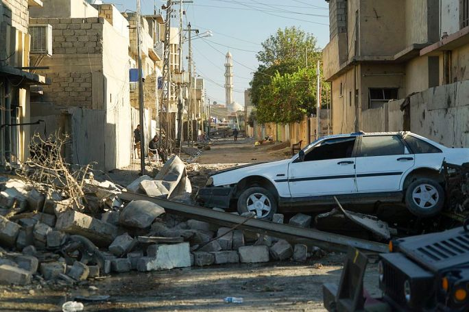 Bombed out streets of Mosul. Northern Iraq, Western Asia. 18 November, 2016
