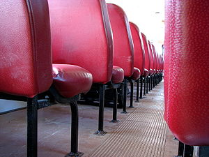 School bus seats, photographed from behind