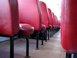 English: School bus seats, photographed from b...