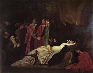 De tragisch-romantische zelfmoord van Romeo en Julia(Frederic Leighton, 1855)