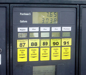 A gas station featuring five Octane ratings, s...
