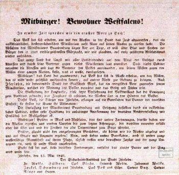 Aufruf der Iserlohner Aufständischen 1849