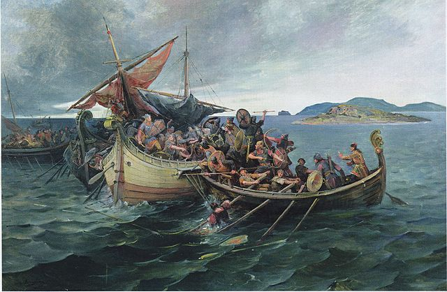 The Jomsvikings in a naval battle by Nils Bergslien, 1900 (Wikimedia Commons)