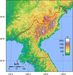 Topographic map of North Korea. Created with G...
