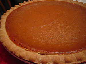 Pumpkin pie with crust detail.