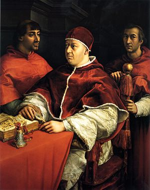 Portrait of Pope Leo X and his cousins, cardin...