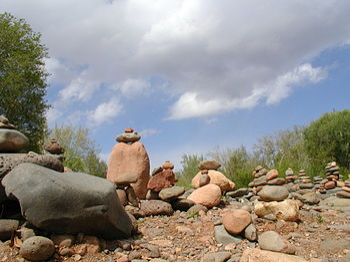 Cairns in Sedona, Arizona, USA, where New Ager...