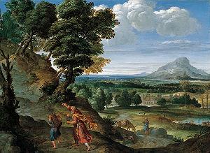 English: Abraham Leading Isaac to Sacrifice, o...