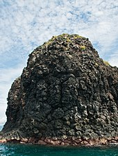 An islet just south of Bali made of pillow basalt. Much of Bali is made of volcanic rock