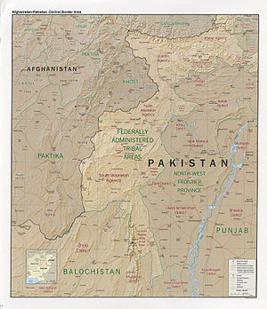 Afghanistan-Pakistan border area in 2008, show...