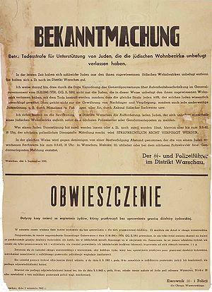 Nazi German poster in German and Polish (Warsa...