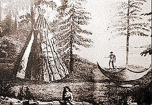 English: Imaginary picture of a beothuk camp, ...