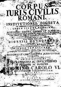 CORPUS IURIS CIVILIS ROMANI. Gothofredus, 1583