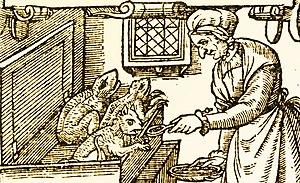 A witch feeding demonic imps.
