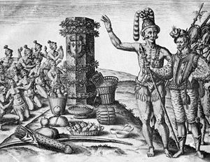 "English: ""FLORIDA INDIANS WORSHIPING A CO..."