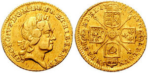 A 1718 quarter-guinea coin from the reign of G...