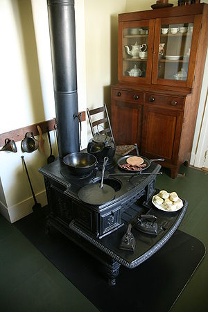 Lincoln family wood fired stove in the kitchon...