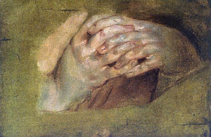 "Oil painting, ""Praying Hands"" by Pet..."