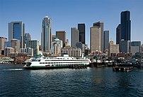 Downtown Seattle, Washington and the Bainbridge Island ferry.