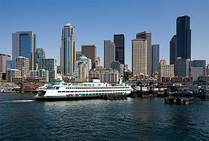 Downtown Seattle, Washington and the Bainbridg...