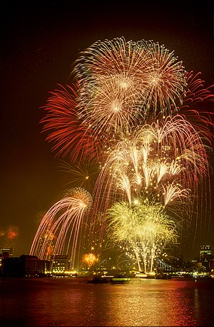 English: Thames Firework Display VJ-Day 50 Yea...