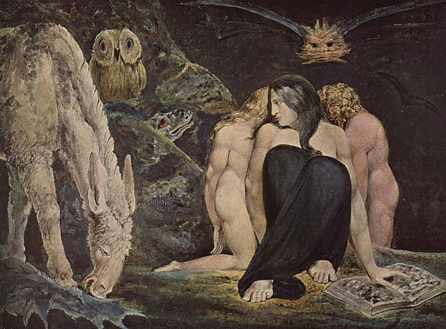 a dark and strange painting, showing a woman hunched down on the right - she holds a book and is flanked by two other women. a face flies in the sky above, while on the left is a bush in which an owl perches and snake hides. a donkey grazes nearby.