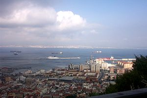 Looking from Gibraltar across to Algeciras, Spain